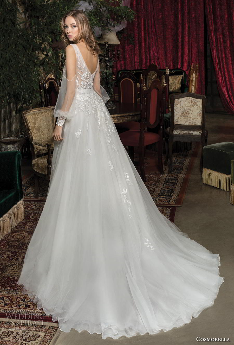 cosmobella 2019 bridal long bishop sleeves sweetheart neckline heavily embellished bodice romantic a  line wedding dress v back chapel train (13) bv
