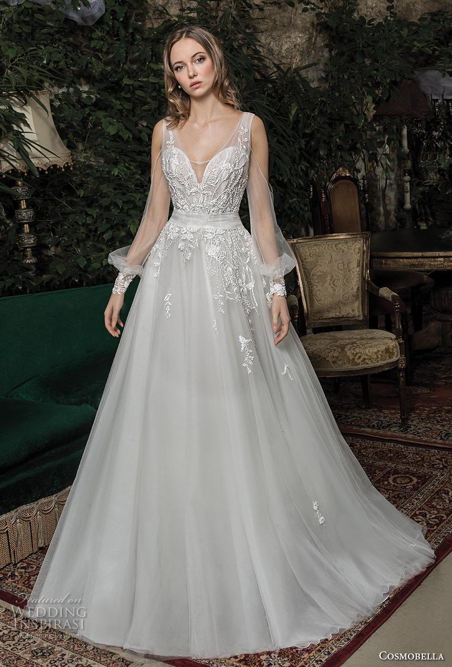 cosmobella 2019 bridal long bishop sleeves sweetheart neckline heavily embellished bodice romantic a  line wedding dress v back chapel train (13) mv