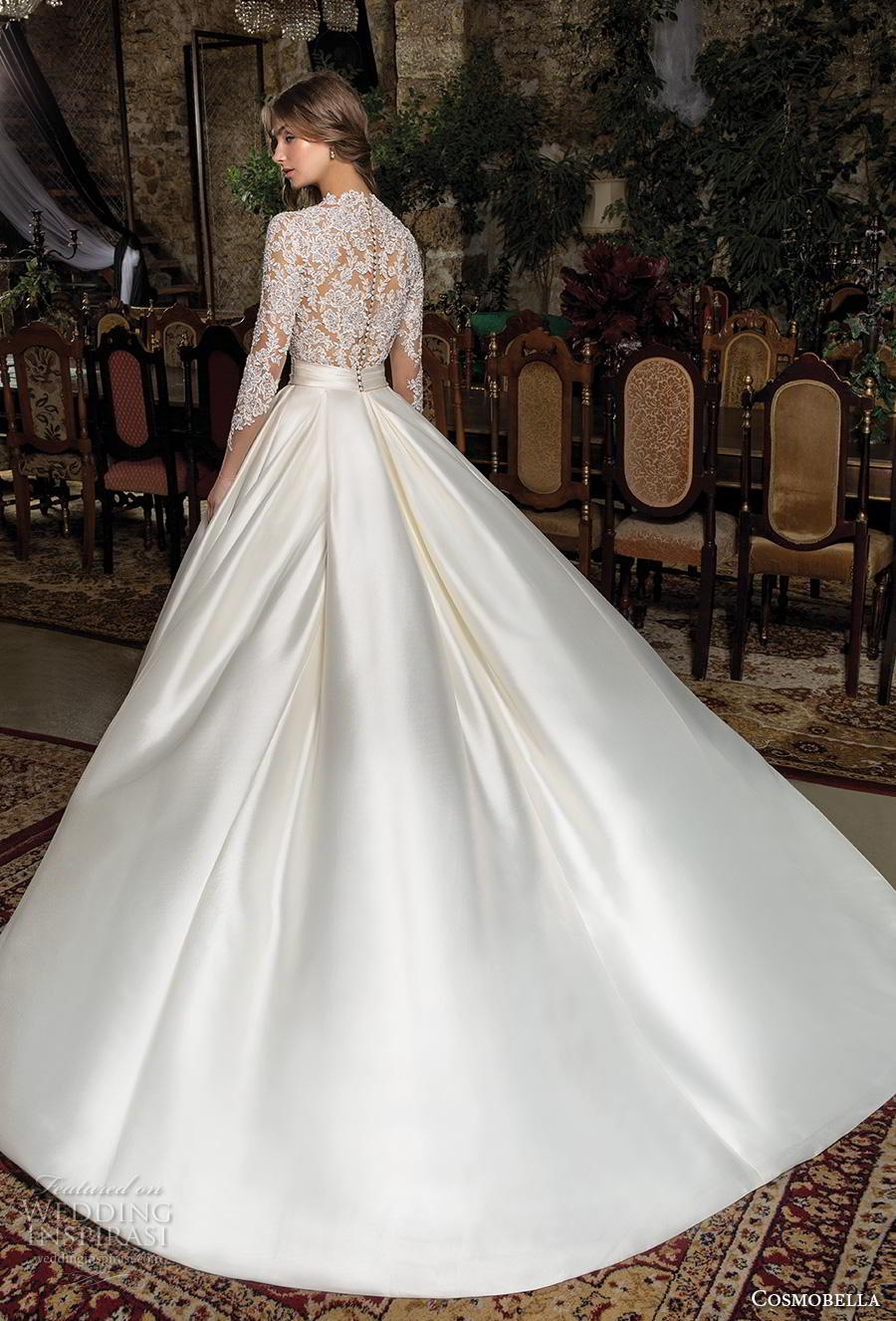 cosmobella 2019 bridal long sleeves deep v neck heavily embellished bodice satin skirt princess elegant a  line wedding dress with pockets lace back chapel train (6) bv