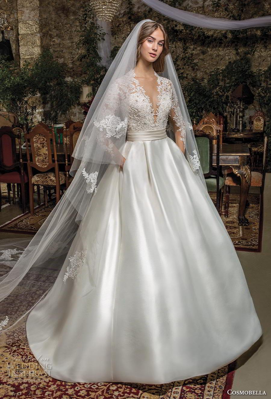 cosmobella 2019 bridal long sleeves deep v neck heavily embellished bodice satin skirt princess elegant a  line wedding dress with pockets lace back chapel train (6) mv
