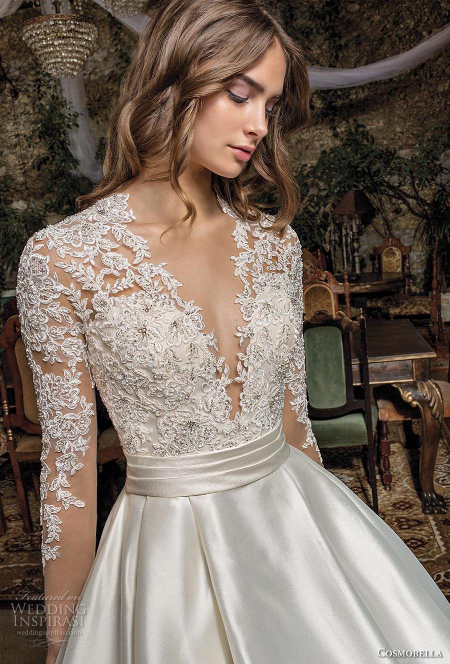 cosmobella 2019 bridal long sleeves deep v neck heavily embellished bodice satin skirt princess elegant a  line wedding dress with pockets lace back chapel train (6) zv