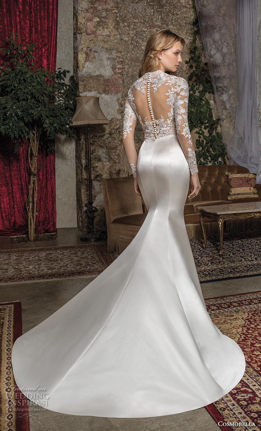 cosmobella 2019 bridal long sleeves illusion jewel v neck heavily embellished bodice glamorous elegant gold sheath wedding dress a  line overskirt keyhole back chapel train (8) bv