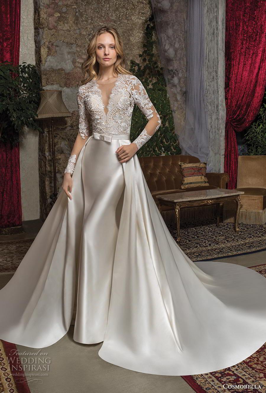 cosmobella 2019 bridal long sleeves illusion jewel v neck heavily embellished bodice glamorous elegant gold sheath wedding dress a  line overskirt keyhole back chapel train (8) mv