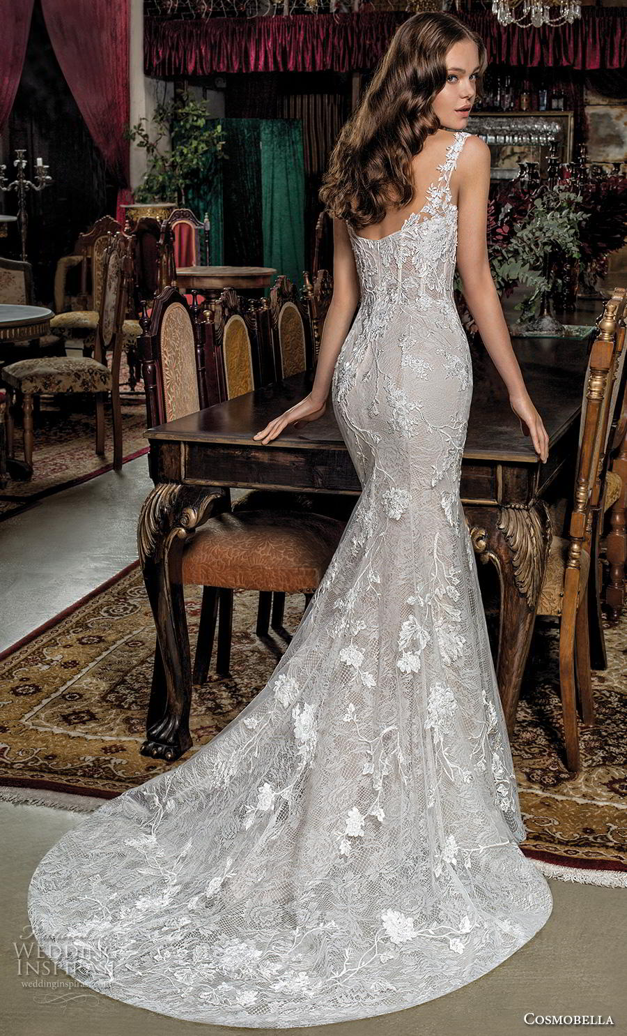 cosmobella 2019 bridal sleeveless illusion bateau sweetheart neckline full embellishmen classict elegant fit and flare sheath wedding dress chapel train (16) bv