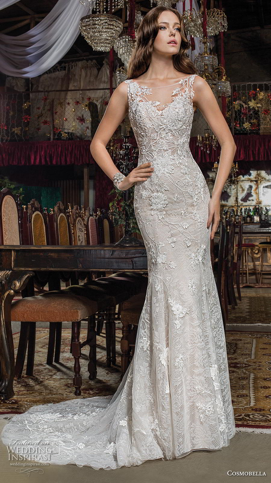 cosmobella 2019 bridal sleeveless illusion bateau sweetheart neckline full embellishmen classict elegant fit and flare sheath wedding dress chapel train (16) mv