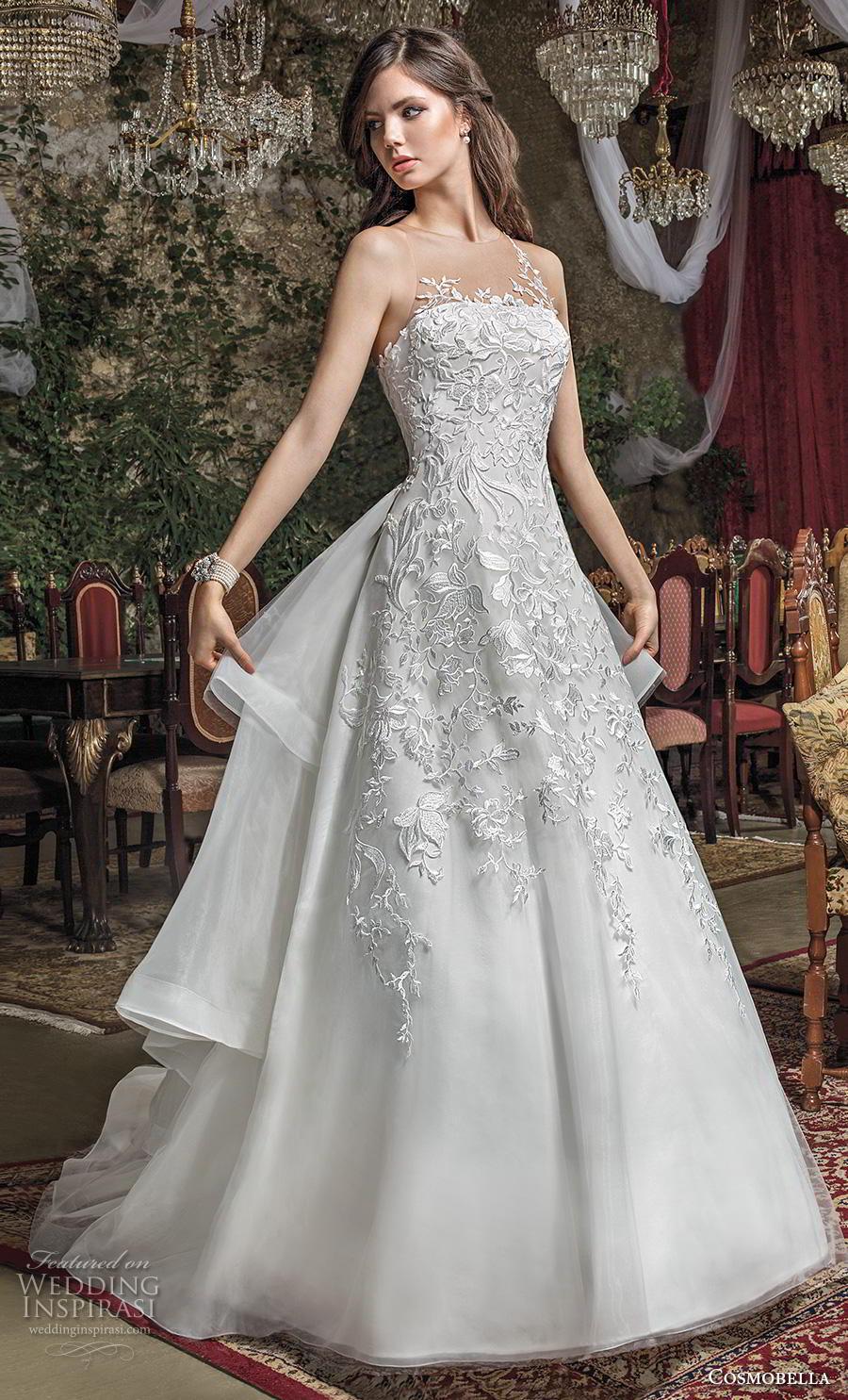 cosmobella 2019 bridal sleeveless illusion jewel straight across neckline heavily embellished bodice tiered skirt  romantic a  line wedding dress sheer button back chapel train (15) mv