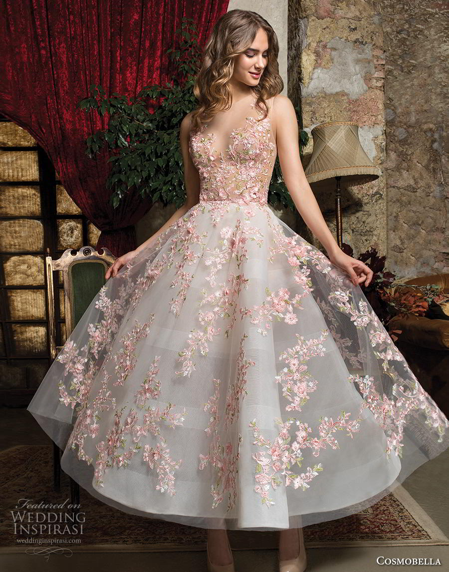 c031e461bfba cosmobella 2019 bridal sleeveless illusion jewel sweetheart neckline full  embellishment pretty romantic blush tea length short