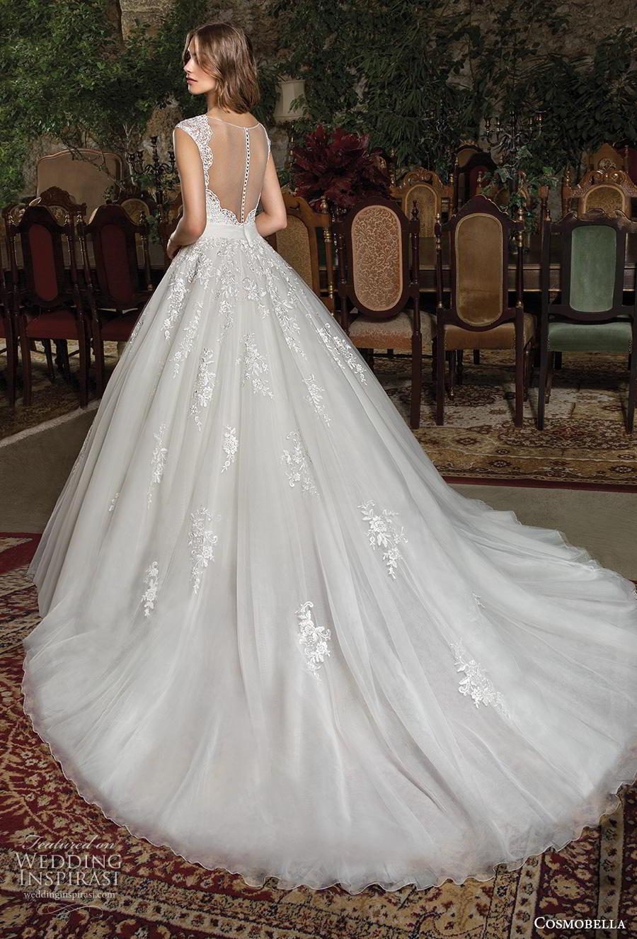 cosmobella 2019 bridal sleeveless thick strap v neck heavily embellished bodice princess classic a  line wedding dress sheer button back chapel train (9) bv
