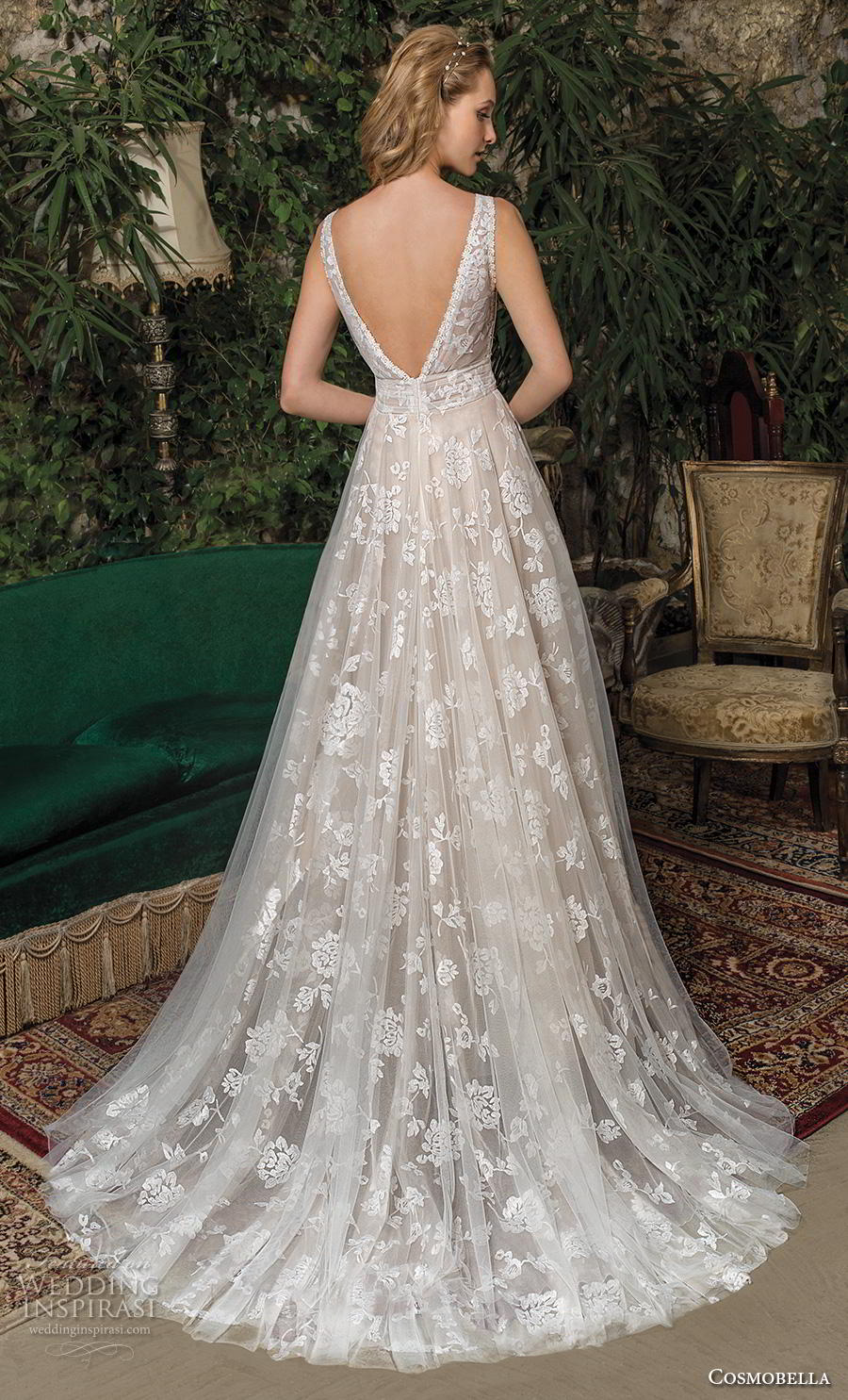 cosmobella 2019 bridal sleeveless v neck full embellishment romantic a  line wedding dress backless v back medium train (7) bv