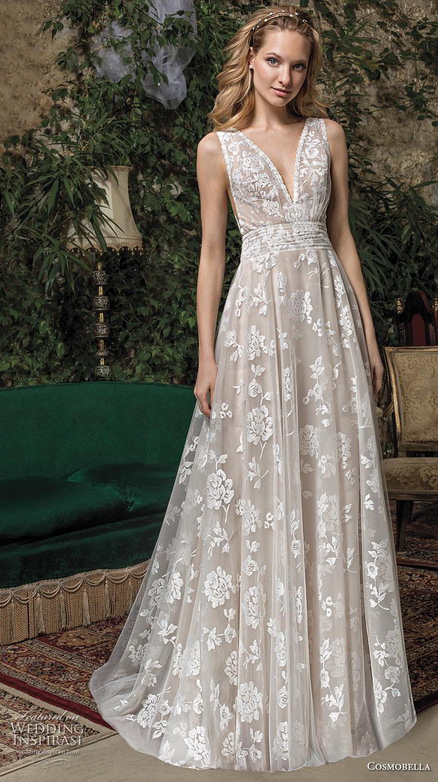 cosmobella 2019 bridal sleeveless v neck full embellishment romantic a  line wedding dress backless v back medium train (7) mv