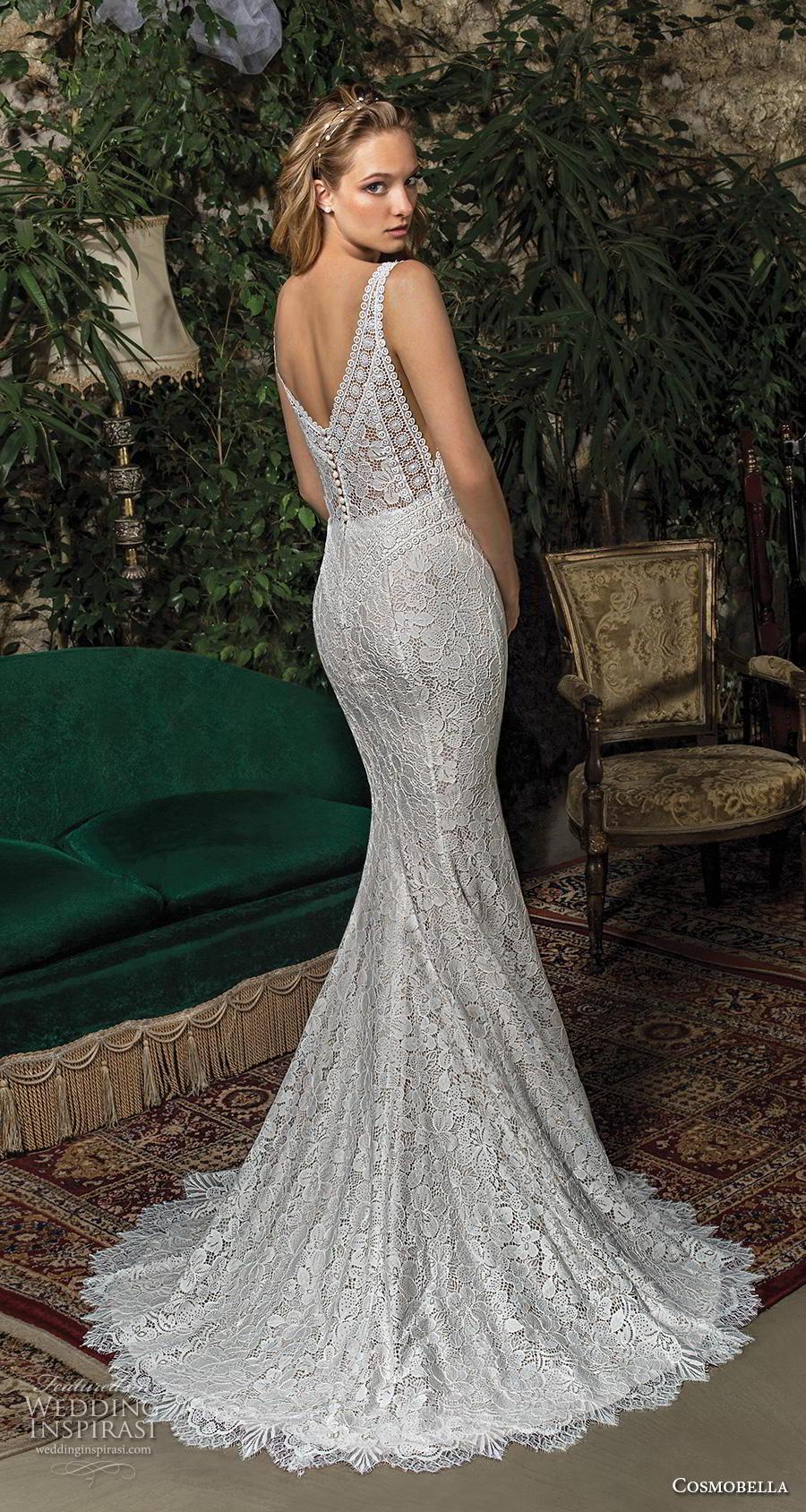 cosmobella 2019 bridal sleeveless with strap v neck full embellishment elegant fit and flare wedding dress v back sweep train (3) bv