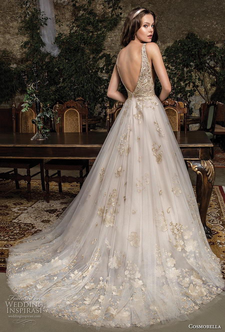 cosmobella 2019 bridal sleeveless with strap v neck heavily embellished bodice hem romantic glamorous gold a  line wedding dress backless v back chapel train (18) bv