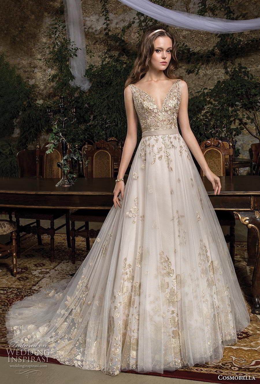 cosmobella 2019 bridal sleeveless with strap v neck heavily embellished bodice hem romantic glamorous gold a  line wedding dress backless v back chapel train (18) mv