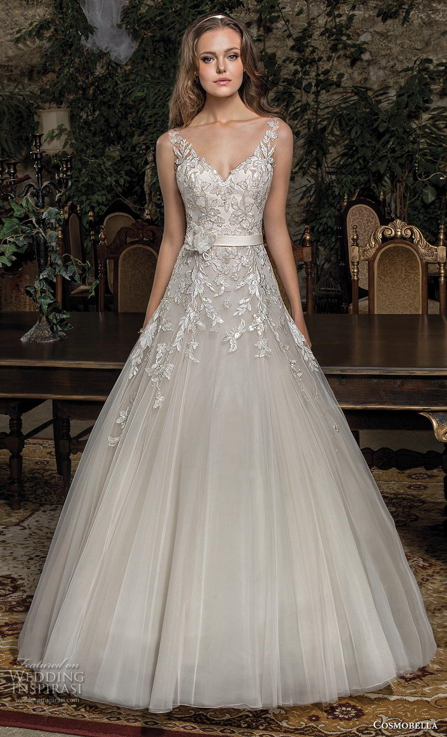 cosmobella 2019 bridal sleeveless with strap v neck heavily embellished bodice romantic a  line wedding dress backless scoop back chapel train (11) mv