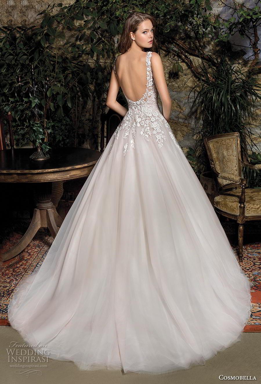 cosmobella 2019 bridal sleeveless with strap v neck heavily embellished bodice romantic a  line wedding dress backless scoop back chapel train (5) bv