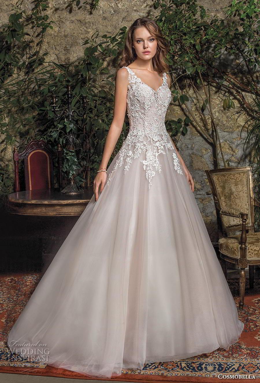 cosmobella 2019 bridal sleeveless with strap v neck heavily embellished bodice romantic a  line wedding dress backless scoop back chapel train (5) mv