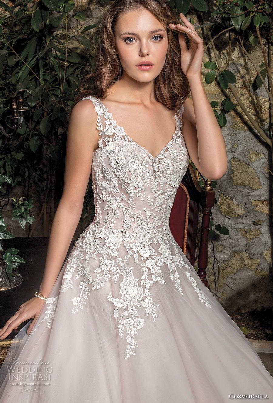cosmobella 2019 bridal sleeveless with strap v neck heavily embellished bodice romantic a  line wedding dress backless scoop back chapel train (5) zv
