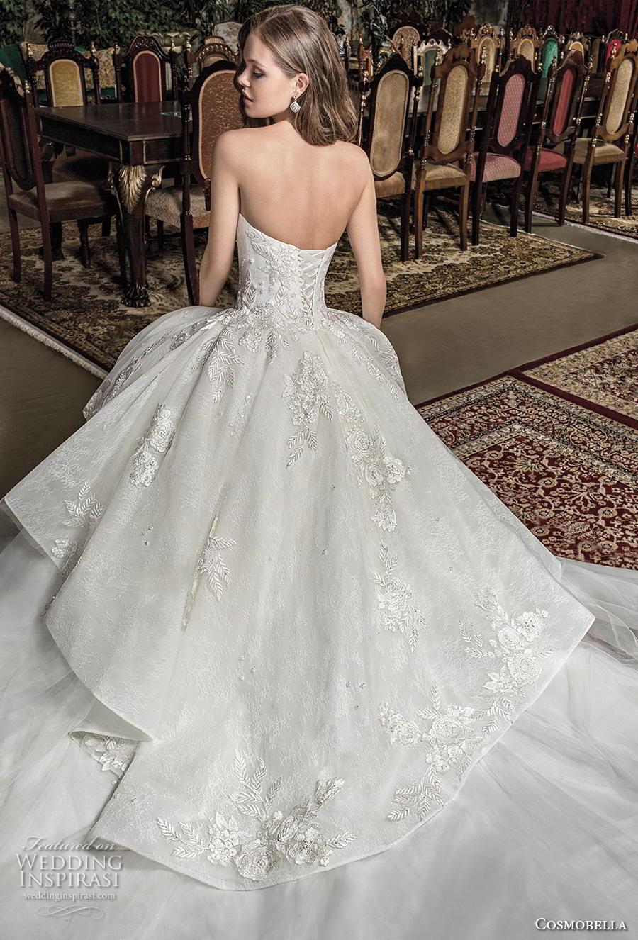 cosmobella 2019 bridal strapless semi sweetheart neckline heavily embellished bodice peplum romantic ball gown a  line wedding dress corset back chapel train (17) bv