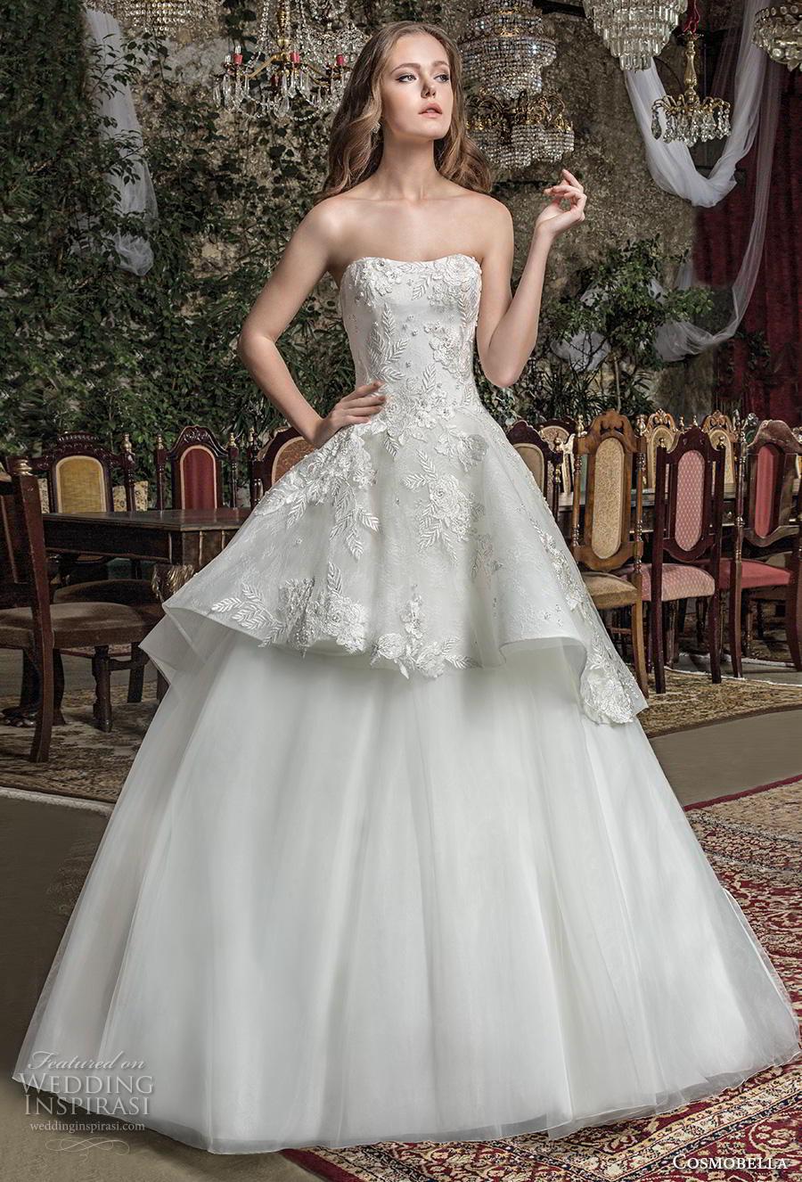 cosmobella 2019 bridal strapless semi sweetheart neckline heavily embellished bodice peplum romantic ball gown a  line wedding dress corset back chapel train (17) mv