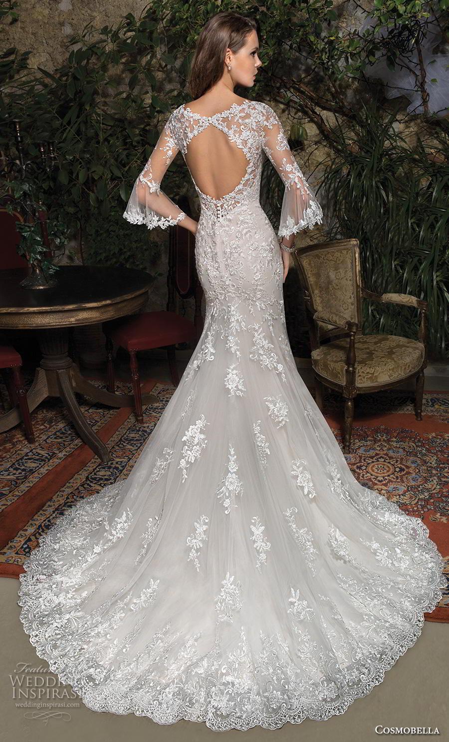 cosmobella 2019 bridal three quarter bell sleeves v neck full embellishment elegant fit and flare wedding dress keyhole back chapel train (4) bv