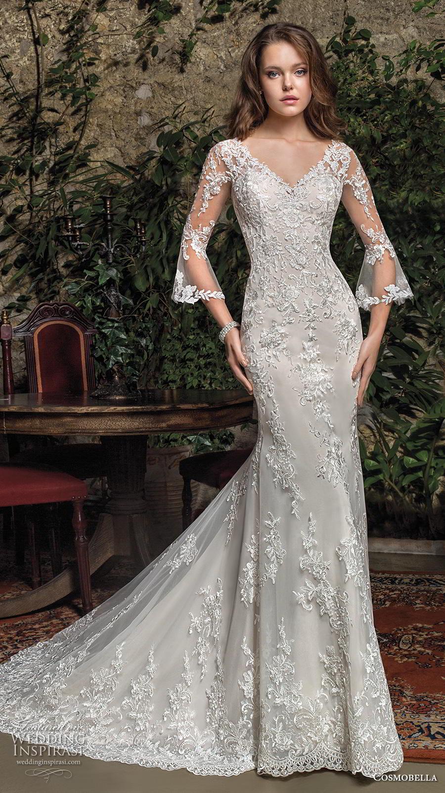 cosmobella 2019 bridal three quarter bell sleeves v neck full embellishment elegant fit and flare wedding dress keyhole back chapel train (4) mv