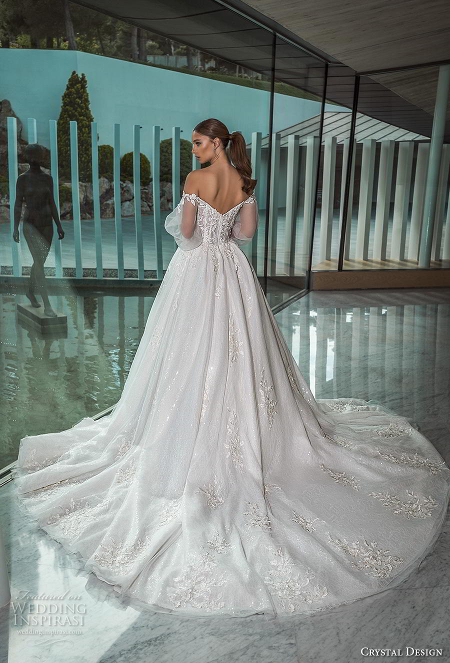 crystal design 2019 bridal long bishop sleeves off the shoulder sweetheart neckline heavily embellished bodice princess romantic ball gown a  line wedding dress royal train (2) bv