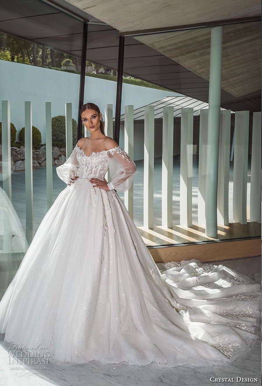 crystal design 2019 bridal long bishop sleeves off the shoulder sweetheart neckline heavily embellished bodice princess romantic ball gown a  line wedding dress royal train (2) mv