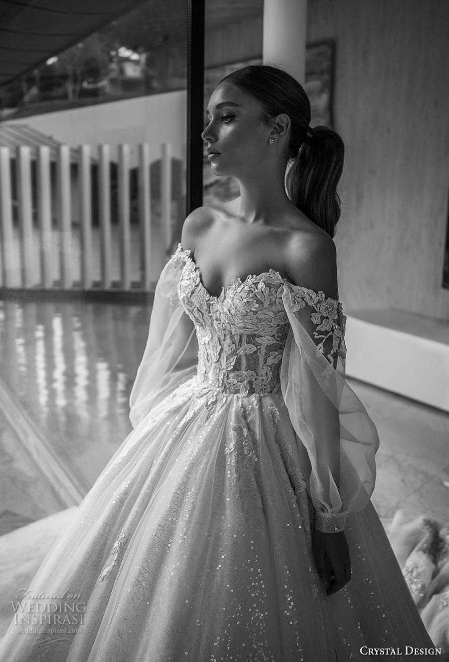 crystal design 2019 bridal long bishop sleeves off the shoulder sweetheart neckline heavily embellished bodice princess romantic ball gown a  line wedding dress royal train (2) zv