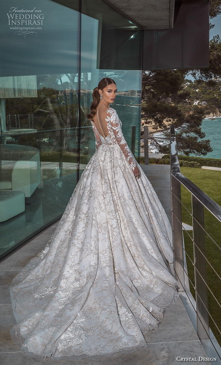 crystal design 2019 bridal long sleeves deep plunging v neck full embellishment princess ball gown a  line wedding dress sheer button back royal train (1) bv