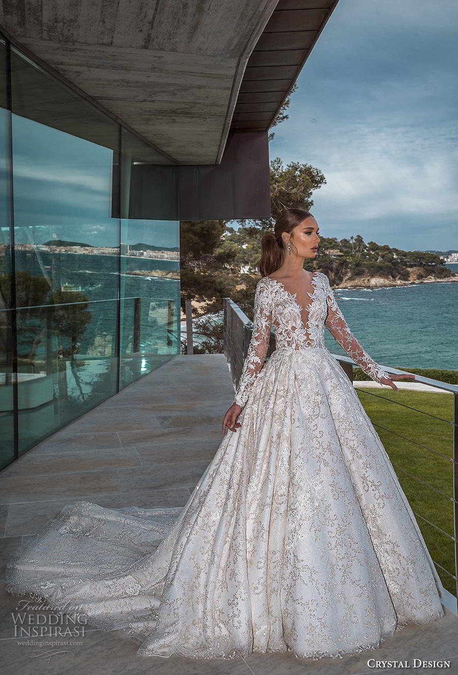crystal design 2019 bridal long sleeves deep plunging v neck full embellishment princess ball gown a  line wedding dress sheer button back royal train (1) mv