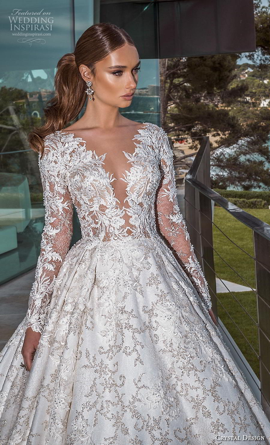 crystal design 2019 bridal long sleeves deep plunging v neck full embellishment princess ball gown a  line wedding dress sheer button back royal train (1) zv