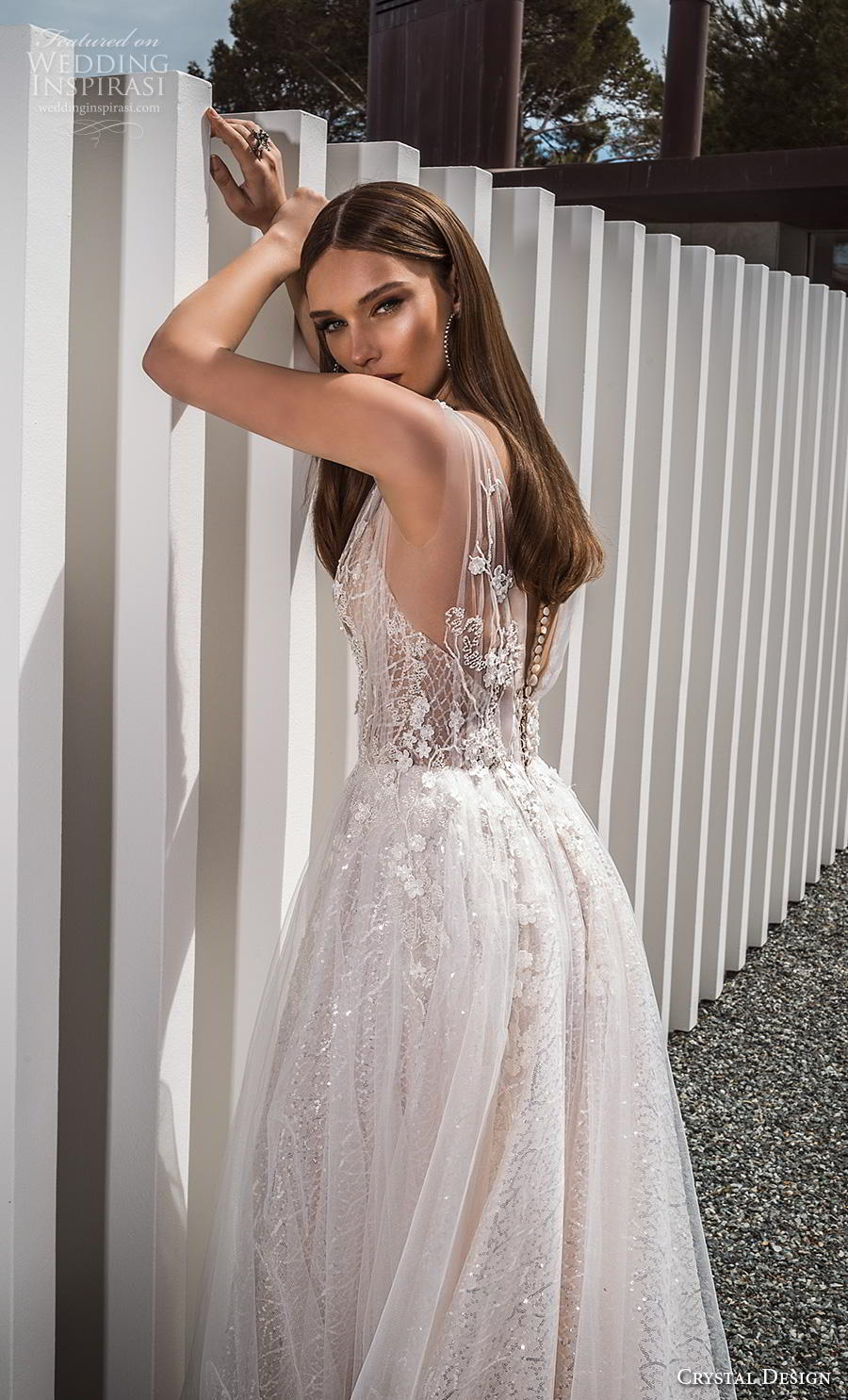 crystal design 2019 bridal sleeveless deep v neck heavily embellished bodice romantic a  line wedding dress sheer button back chapel train (3) bv