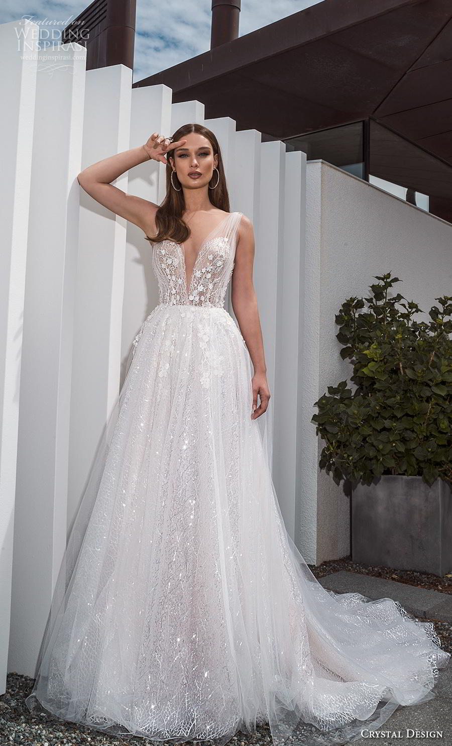 crystal design 2019 bridal sleeveless deep v neck heavily embellished bodice romantic a  line wedding dress sheer button back chapel train (3) mv
