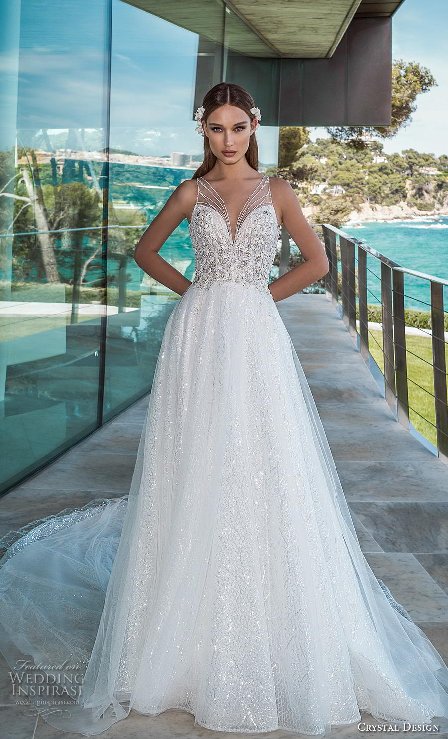 crystal design 2019 bridal sleeveless illusion v sweetheart neckline heavily embellished bodice romantic glamorous a  line wedding dress keyhole back chapel train (8) mv