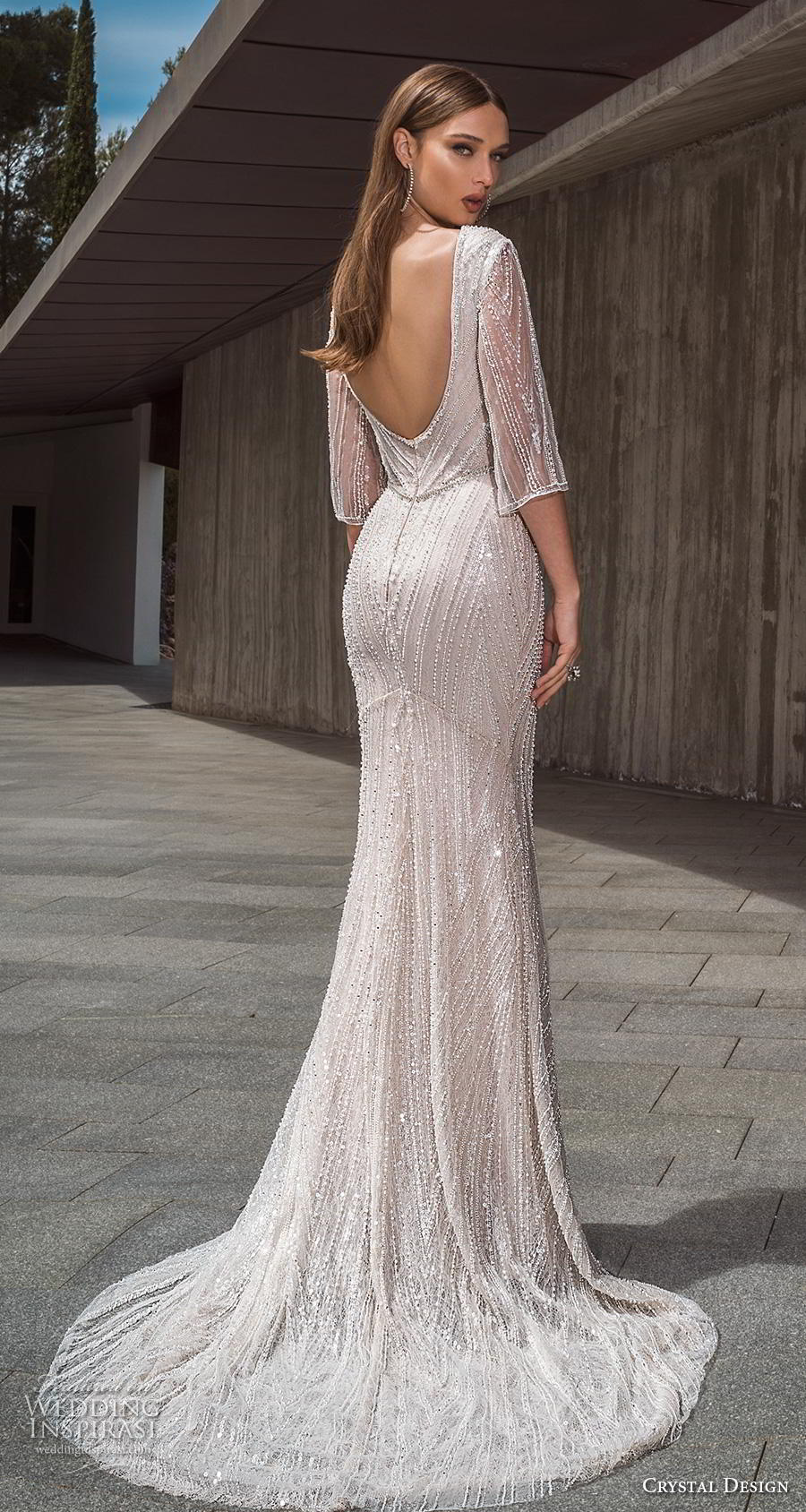 crystal design 2019 bridal three quarter sleeves deep plunging v neck full embellishment glitzy glamorous fit and flare wedding dress backless scoop back short train (7) bv
