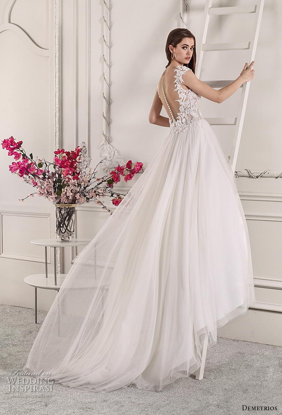 demetrios 2019 starlight bridal cap sleeves deep sweetheart neckline heavily embellished bodice tulle skirt romantic a  line wedding dress sheer button back chapel train (3) bv