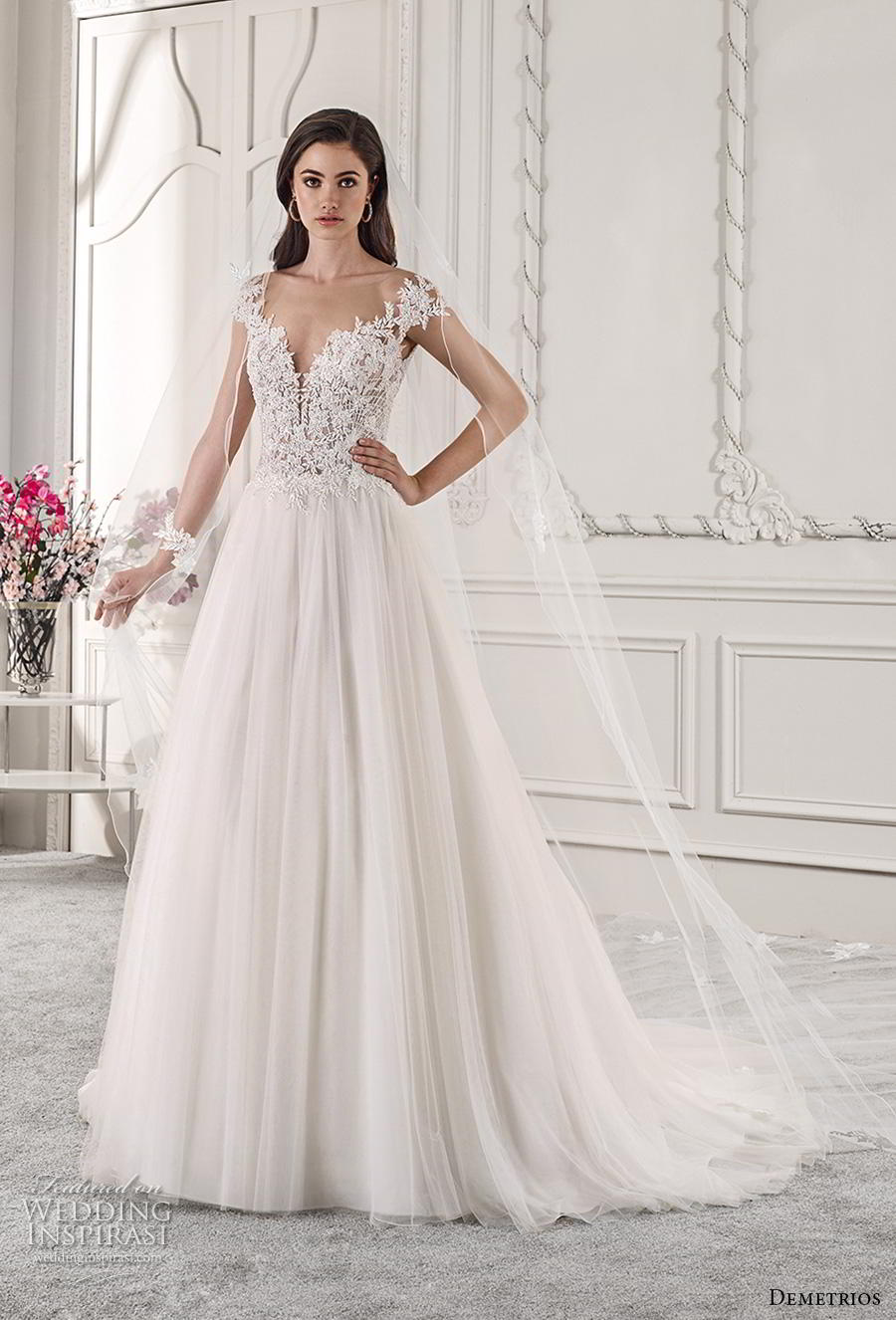 demetrios 2019 starlight bridal cap sleeves deep sweetheart neckline heavily embellished bodice tulle skirt romantic a  line wedding dress sheer button back chapel train (3) mv