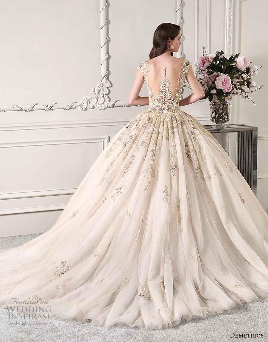 demetrios 2019 starlight bridal cap sleeves deep sweetheart neckline heavily embellished glamorous princess ivory gold ball gown a  line wedding dress sheer button back chapel train (12) bv