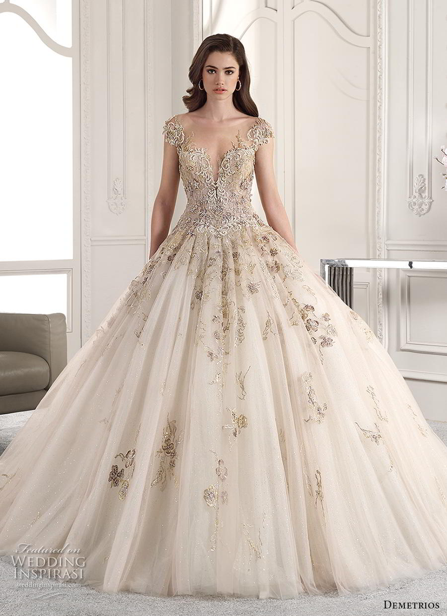 demetrios 2019 starlight bridal cap sleeves deep sweetheart neckline heavily embellished glamorous princess ivory gold ball gown a  line wedding dress sheer button back chapel train (12) mv