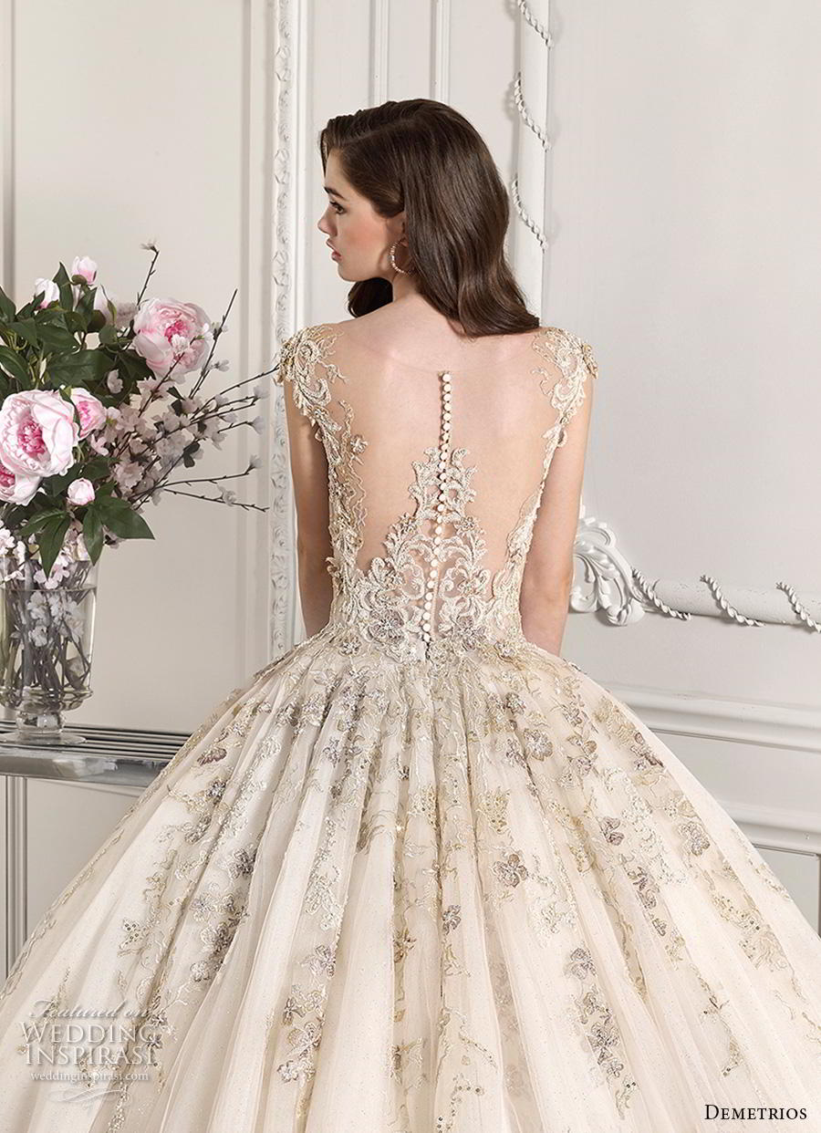 demetrios 2019 starlight bridal cap sleeves deep sweetheart neckline heavily embellished glamorous princess ivory gold ball gown a  line wedding dress sheer button back chapel train (12) zbv