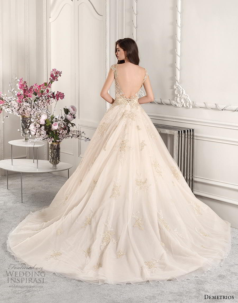 demetrios 2019 starlight bridal cap sleeves illusion bateau sweetheart neckline heavily embellished bodice glamorous ivory ball gown a  line wedding dress backless v back chapel train (13) bv