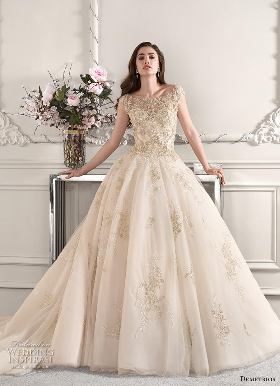 demetrios 2019 starlight bridal cap sleeves illusion bateau sweetheart neckline heavily embellished bodice glamorous ivory ball gown a  line wedding dress backless v back chapel train (13) mv