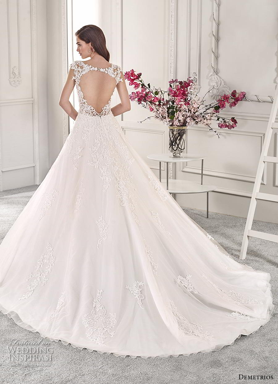 demetrios 2019 starlight bridal cap sleeves thick strap sweetheart neckline heavily embellished bodice romantic a  line wedding dress keyhole back chapel train (8) bv