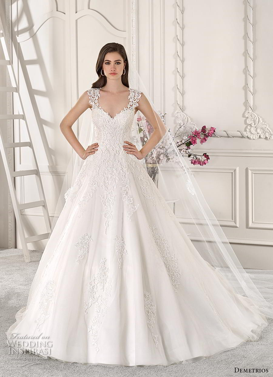 demetrios 2019 starlight bridal cap sleeves thick strap sweetheart neckline heavily embellished bodice romantic a  line wedding dress keyhole back chapel train (8) mv