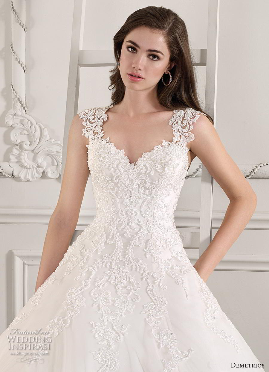 demetrios 2019 starlight bridal cap sleeves thick strap sweetheart neckline heavily embellished bodice romantic a  line wedding dress keyhole back chapel train (8) zv
