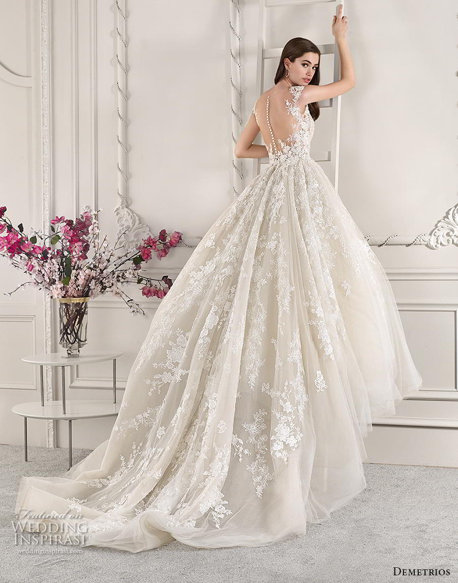 demetrios 2019 starlight bridal cap sleeves v neck heavily embellished bodice princess off white ball gown a  line wedding dress sheer button back royal train (9) bv mv