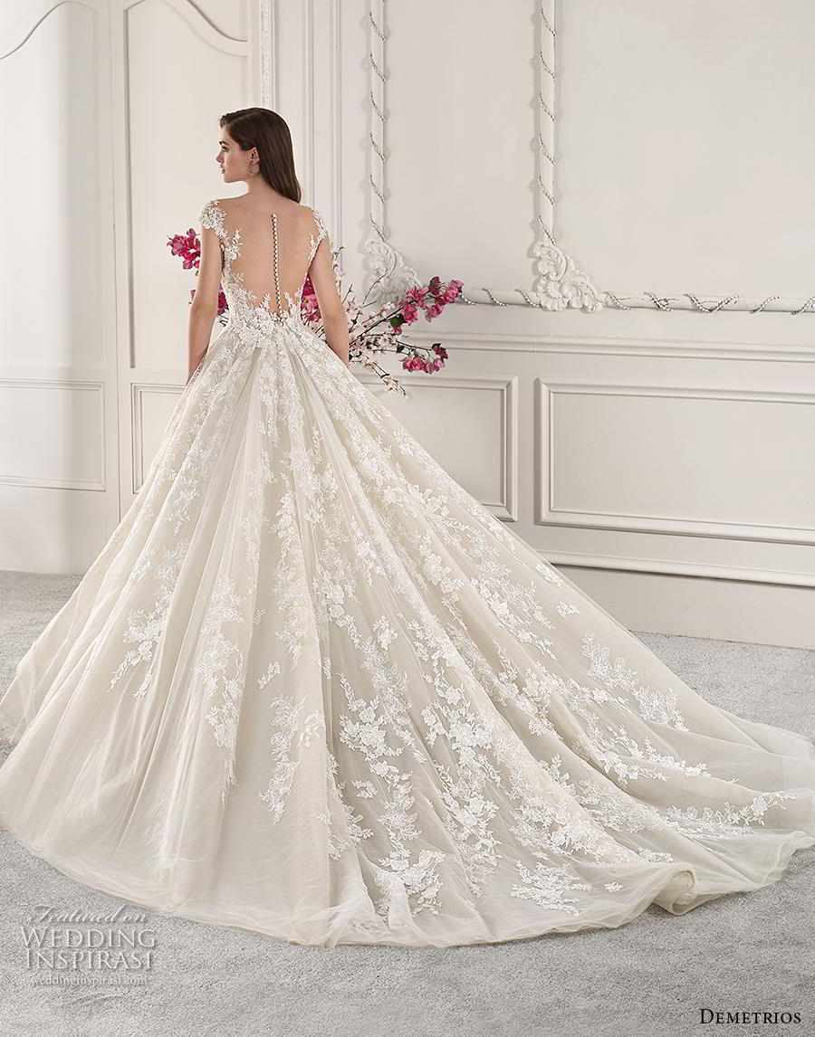 demetrios 2019 starlight bridal cap sleeves v neck heavily embellished bodice princess off white ball gown a  line wedding dress sheer button back royal train (9) bv