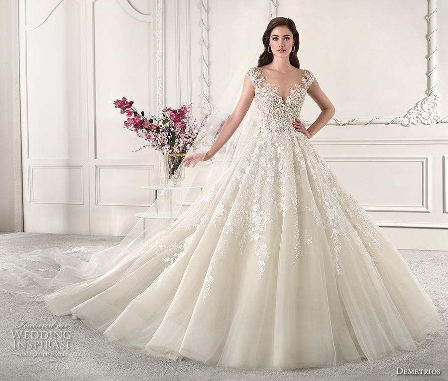 demetrios 2019 starlight bridal cap sleeves v neck heavily embellished bodice princess off white ball gown a  line wedding dress sheer button back royal train (9) mv