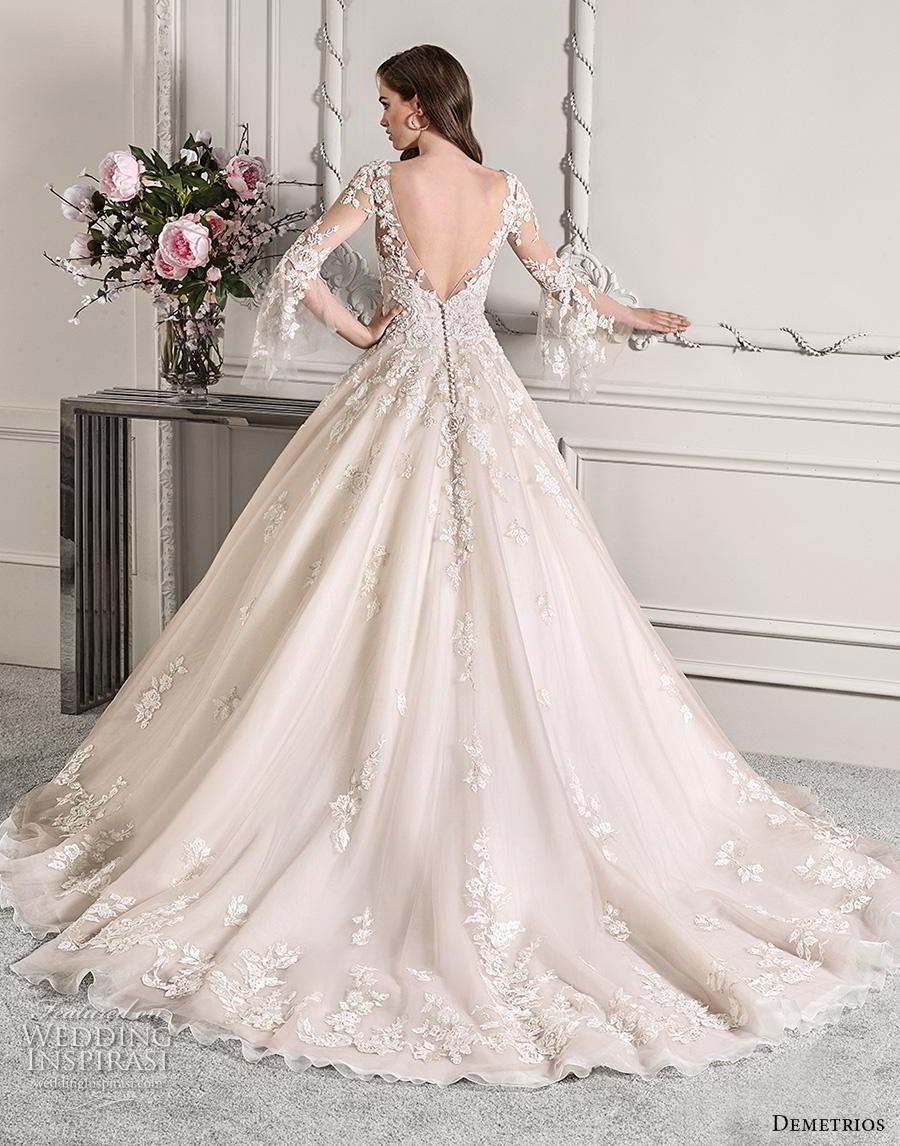 41a6e36d646 demetrios 2019 starlight bridal long lantern sleeves v neck heavily  embellished bodice hem princess blush color