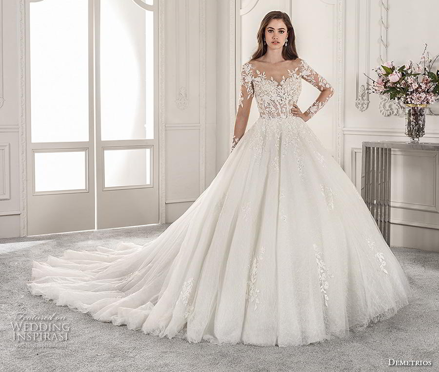 demetrios 2019 starlight bridal long sleeves illusion boat sweetheart neckline heavily embellished bodice romantic princess ball gown a  line wedding dress sheer button back royal train (15) mv